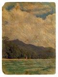 Tropical landscape, Seychelles. Old postcard. Royalty Free Stock Photos