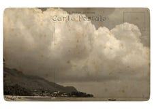Tropical landscape, Seychelles. Old postcard. Stock Photos