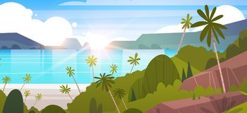 Tropical Landscape Summer Seaside Beach With Palm Tree And Mountains. Flat Vector Illustration Stock Photography