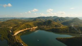 Tropical landscape, mountains, forest, bay. Busuanga, Palawan, Philippines. Tropical landscape, at sunrise time with mountains, tropical forest, bay, mangrove stock video footage