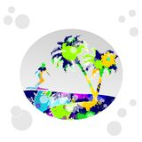 Tropical landscape with surfer Royalty Free Stock Photos