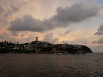 tropical landscape in the traditional area of Acapulco, Mexico royalty free stock photography