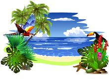 Tropical landscape. (Vector) Royalty Free Stock Photo