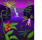 Tropical landscape with waterfall and flowering plants stock illustration