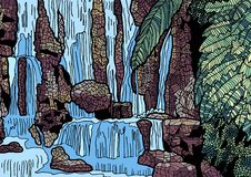 Tropical landscape with waterfall illustration vector illustration