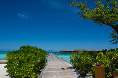 Tropical landscape with wooden bridge and water bungalos at Maldives Royalty Free Stock Photo