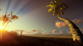 Tropical landscape with yacht sailing, palm trees and woman walking on the beach at sunset stock video