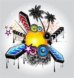 Tropical Latin Musical Event Background. Colorful Flyer for Tropilcal Disco Music Event  or Party Stock Photo