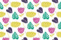Tropical leaf and flowers seamless pattern at white background. Green, mint and purple colors. Royalty Free Stock Photography