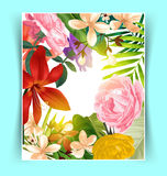 Tropical leaf pattern poster Stock Image