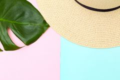 Tropical leaf and  straw hat on pastels color background. Copy space. Tropical leaf and  straw hat on pastels color background. Free space royalty free stock photo