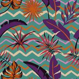 Tropical leaves abstract color seamless zigzag background stock photography
