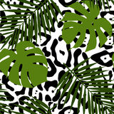Tropical leaves and animal skin seamless pattern. Stock Images