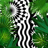 Tropical leaves background with geometric elements. Vector floral patterns fashion trend vector illustration