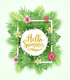 Tropical Leaves Background Hello Summer Lettering Vector Illustration Royalty Free Stock Image