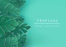 Tropical leaves background, nature design, flyer, invitation, greeting card and poster, paper cut style vector stock illustration