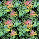Tropical leaves bamboo tree pattern in a watercolor style. Royalty Free Stock Images