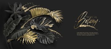 Tropical leaves black and gold botany banner vector illustration