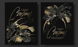 Tropical leaves black gold botany christmas cards royalty free illustration