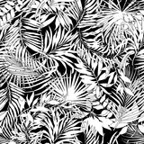Tropical leaves in black and white. Hawaiian style vector seamless pattern stock illustration