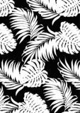 Tropical leaves black and white pattern style, flat line vector and illustration on black background. royalty free illustration