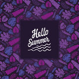 Tropical leaves,branches backdrop.Hello summer.Violet Stock Photo