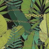 Tropical leaves and chains. Vector seamless pattern. Hand drawing. vector illustration