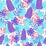 Tropical leaves colorful seamless pattern. Summer trendy print for textile, wallpaper or wrapping paper. royalty free illustration