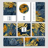 Tropical leaves. Elegant  creative card templates set. tropical leaves Royalty Free Stock Photos