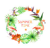 Tropical leaves, exotic flamingo birds, orchid flowers. Wreath frame. Watercolor. Tropical leaves, exotic flamingo birds, orchid flowers. Wreath frame. Summer Stock Photography
