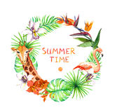 Tropical leaves, exotic flamingo, giraffe, orchid flowers. Wreath frame. Watercolor Stock Images