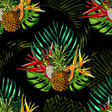 Tropical leaves and exotic flowers on background. White zigzag. Exotic seamless pattern. Vector botanical print.  Stock Images
