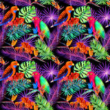 Tropical leaves and exotic flowers in neon light. Seamless unique pattern. Water color Stock Photography