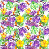 Tropical leaves, exotic flowers. Seamless jungle pattern. Watercolor. Tropical leaves and exotic flowers. Seamless jungle pattern. Watercolor stock photos