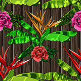 Tropical leaves and exotic flowers on wooden background. White zigzag. Exotic seamless pattern. Vector botanical print.  vector illustration