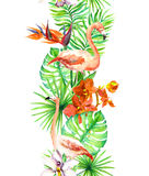 Tropical leaves, flamingo bird, orchid flowers. Seamless border. Watercolor frame Stock Image