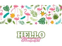 Tropical leaves and flamingo pattern. Hello summer background design Royalty Free Stock Photo
