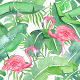 Tropical leaves and flamingo saemless pattern royalty free illustration