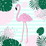 Tropical leaves and Flamingo Summer Banner, Graphic Background, Exotic Floral Invitation, Flyer or Card. Hand draw