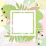 Tropical leaves and Flamingo Summer Frame Banner, Graphic Background, Exotic Floral Invitation, Flyer or Card. Hand draw royalty free illustration