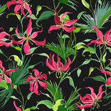 Tropical Leaves and Flowers Background. Seamless Pattern. In Vector Royalty Free Stock Photo