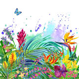 Tropical leaves and flowers background. stock illustration