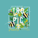 Tropical Leaves and Flowers, Exotic Fish Graphic Design for T-shirt, Fashion, Prints, Tropic Banner and Flyer. In Vector Stock Images