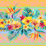 Tropical leaves and flowers on ornamental background. Floral design background. Stock Photos