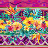 Tropical leaves and flowers on ornamental background. Floral design background. Watercolor tropical leaves and flowers seamless pattern. Hand painted Royalty Free Stock Images