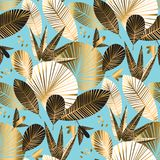 Tropical leaves and flowers seamless pattern. Geometric gold and rosy tropical leaves and flowers seamless pattern for background, wrapping paper, fabric royalty free illustration