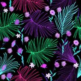 Tropical leaves and flowers seamless pattern in neon colors, vector. Tropical leaves and flowers seamless pattern in neon colors, bright print for textile, cloth stock illustration
