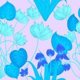 Tropical leaves and flowers seamless pattern in neon colors, vec Royalty Free Stock Images