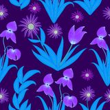 Tropical leaves and flowers seamless pattern in neon colors, vec Stock Photography