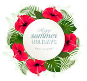 Tropical leaves and flowers with a summer holidays banner. Stock Photos
